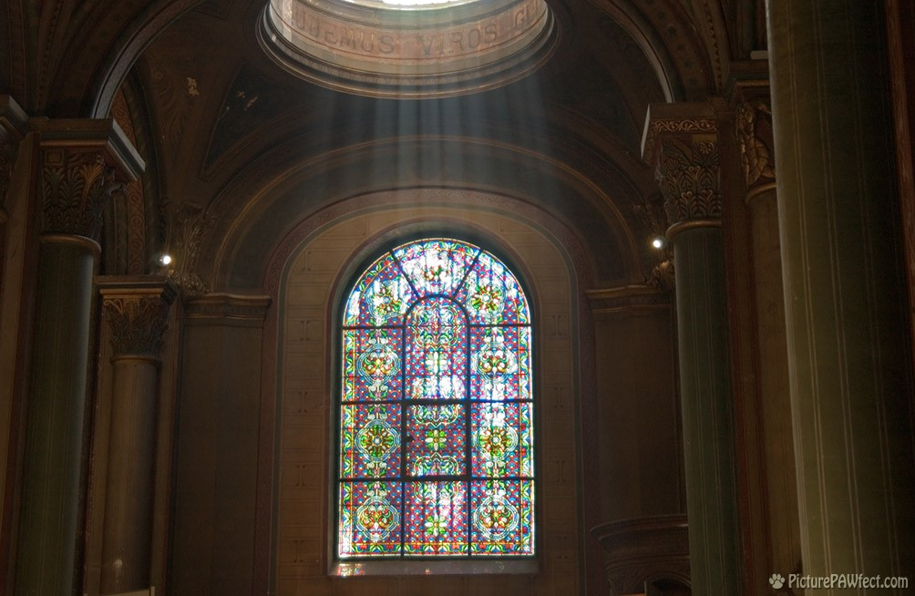 Rays of light inside St. Germain's Cathedral (David's France Gallery)