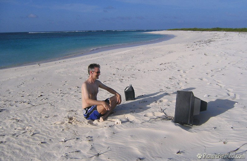 Nothing like TV on the beach! (Anegada) (Sailing the British Virgin Islands)